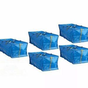 5x IKEA Large Zipper Bags Tote Storage